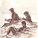 Reading and Sketching at Cape Cornwall by Barnaby Edwards