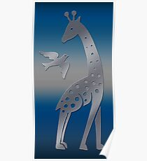 Giraffe and bird - perforated sheet design Poster