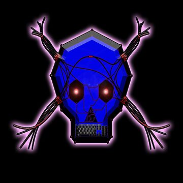 HACKER, Digital, Computer, Skull, on BLACK by TOMSREDBUBBLE