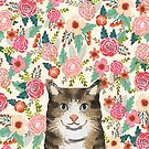 Cat floral pet portrait tabby cats  by PetFriendly