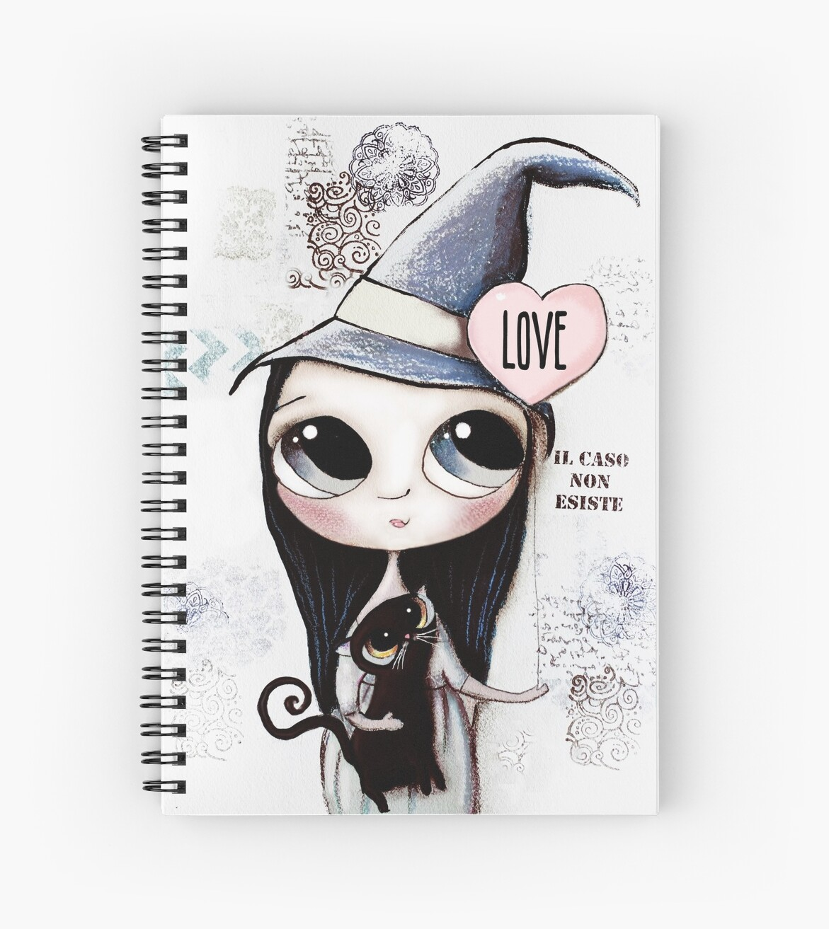 Witch with black hair and black cat and heart of Love by margherita arrighi