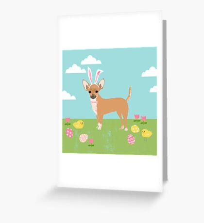 Chihuahua dog breed easter bunny costume pet portrait chihuahuas  Greeting Card