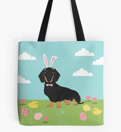 Dachshund dog breed easter pet portrait dog breed gifts pure breed dachsie doxie black and tan Tote Bag