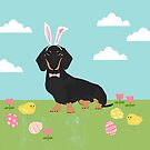 Dachshund dog breed easter pet portrait dog breed gifts pure breed dachsie doxie black and tan by PetFriendly