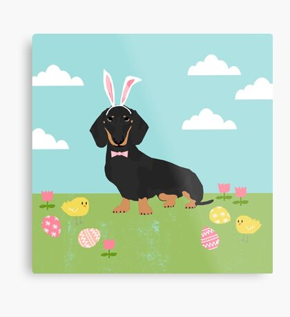 Dachshund dog breed easter pet portrait dog breed gifts pure breed dachsie doxie black and tan Metal Print