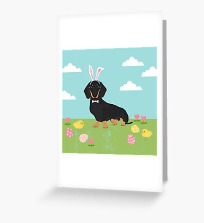 Dachshund dog breed easter pet portrait dog breed gifts pure breed dachsie doxie black and tan Greeting Card