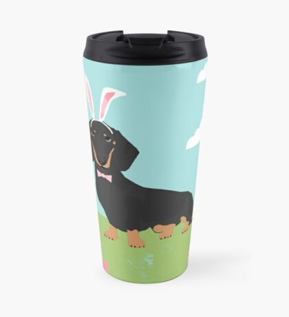 Dachshund dog breed easter pet portrait dog breed gifts pure breed dachsie doxie black and tan Travel Mug