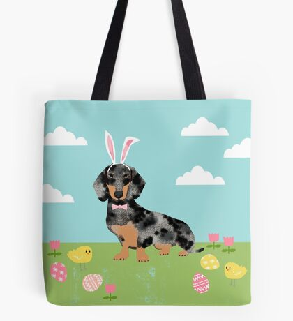 Dachshund dog breed easter pet portrait dog breed gifts pure breed dachsie doxie dapple Tote Bag