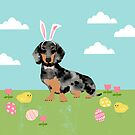 Dachshund dog breed easter pet portrait dog breed gifts pure breed dachsie doxie dapple by PetFriendly