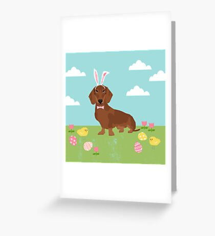 Dachshund dog breed easter pet portrait dog breed gifts pure breed dachsie doxie  Greeting Card