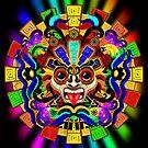 Aztec Warrior Mask Rainbow Colors by BluedarkArt