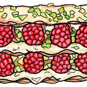 Raspberry and Pistachio Napoleon by Nintendart