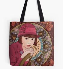 Painting of a Girl in a Red Hat in the style of Alphonse Mucha Tote Bag