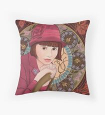 Painting of a Girl in a Red Hat in the style of Alphonse Mucha Throw Pillow