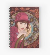 Painting of a Girl in a Red Hat in the style of Alphonse Mucha Spiral Notebook