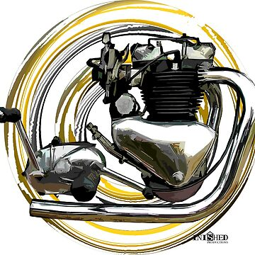 Triumph T6 Thunderbird Motorcycle Engine inspired Art, Inished Productions by Melimoto
