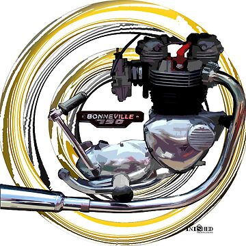 Triumph T160 Bonneville Harris Motorcycle Engine inspired Art, Inished Productions by Melimoto