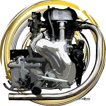 Vintage Velocette Motorcycle engine inspired art, Inished Productions by Melimoto