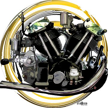 Vintage 1936 Imperial 492cc Works Race Motorcycle Engine Inspired art, Inished Productions by Melimoto