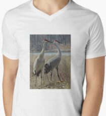 Cherokee Marsh Sandhill Cranes  V-Neck T-Shirt