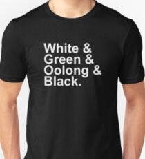 Tea Types - White, Green, Oolong, Black Unisex T-Shirt