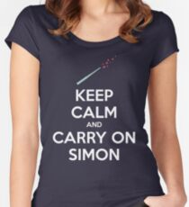 Keep Calm and Carry On Simon (White Text) Women's Fitted Scoop T-Shirt