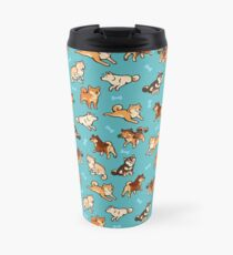 shibes in blue Travel Mug