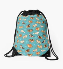 shibes in blue Drawstring Bag