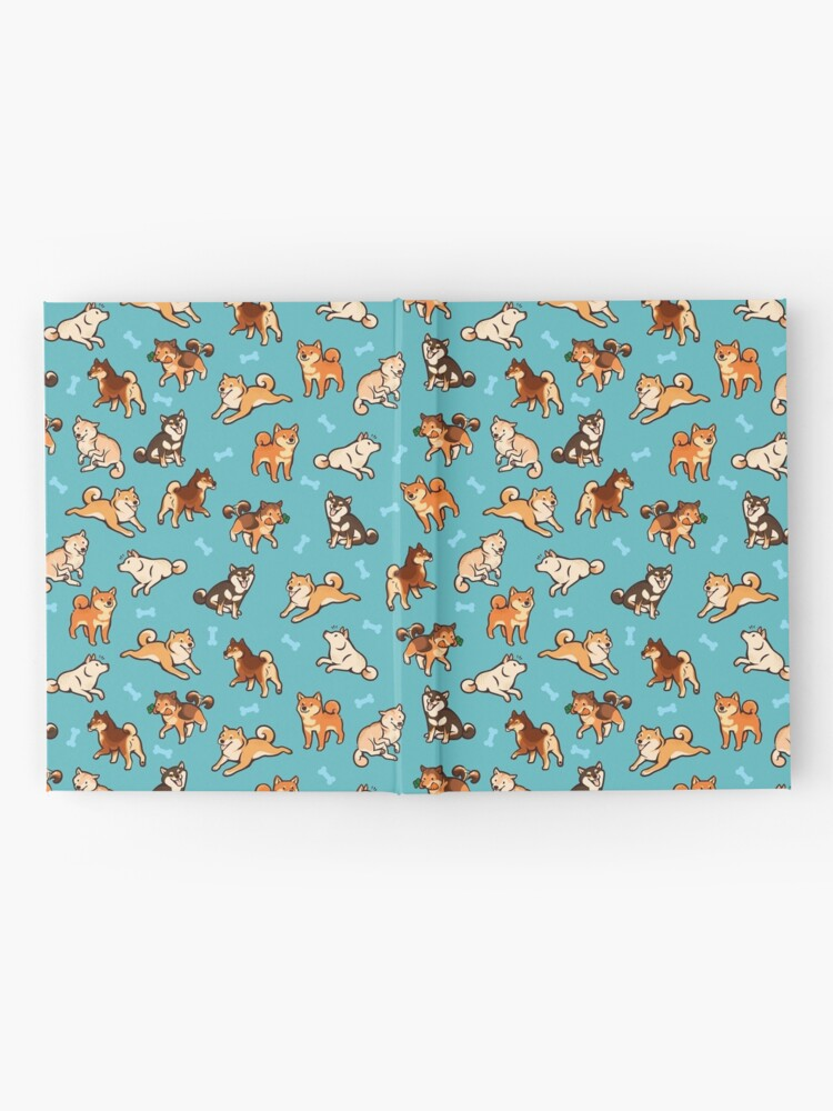Alternate view of shibes in blue Hardcover Journal