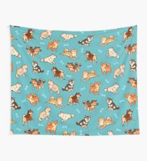 shibes in blue Wall Tapestry