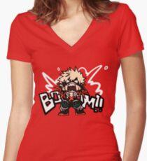 Mon héros universitaire: Katsuki Bakugo - BOOOM !! T-shirt col V femme