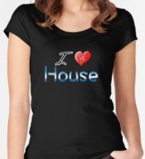 I love house heart clef Women's Fitted Scoop T-Shirt