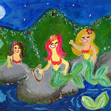 Retro Sixties Mermaid Grotto Painting by mytshirtfort