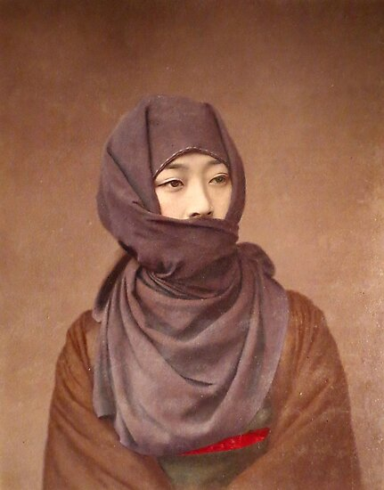 Girl in winter costume, Meiji Period, Japan by Fletchsan