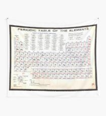 Nerd Geek Periodic Table Of The Elements Vintage Chart Warm Wall Tapestry