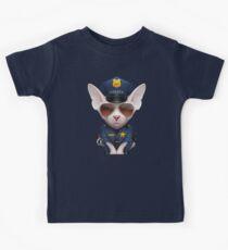 White Sphynx Cat Police Officer Kids Tee