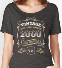 18th Birthday Gift Gold Vintage 2000 Aged Perfectly Women's Relaxed Fit T-Shirt