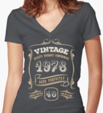 40th Birthday Gift Gold Vintage 1978 Aged Perfectly Women's Fitted V-Neck T-Shirt