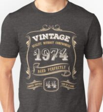 44th Birthday Gift Gold Vintage 1974 Aged Perfectly Unisex T-Shirt