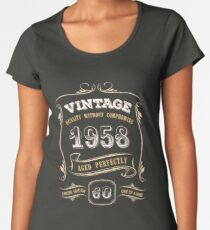 60th Birthday Gift Gold Vintage 1958 Aged Perfectly Women's Premium T-Shirt