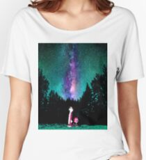 Calvin and Hobbes Galaxy Night Women's Relaxed Fit T-Shirt