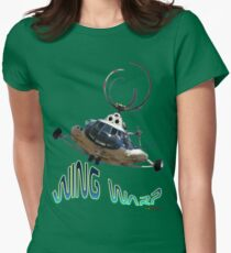 Mil Helicopter Wing Warp T-shirt Design Womens Fitted T-Shirt