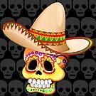 Mexico Sugar Skull with Sombrero by BluedarkArt