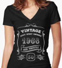 Vintage 1968 - 50th Birthday Gift Idea Women's Fitted V-Neck T-Shirt