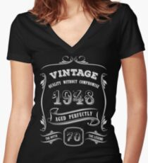 Vintage 1948 - 70th Birthday Gift Idea Women's Fitted V-Neck T-Shirt