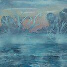 Frozen trees in misty lake by George Hunter