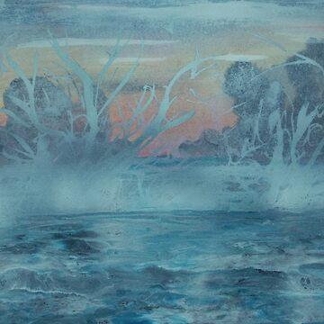 Frozen trees in misty lake by ditempli