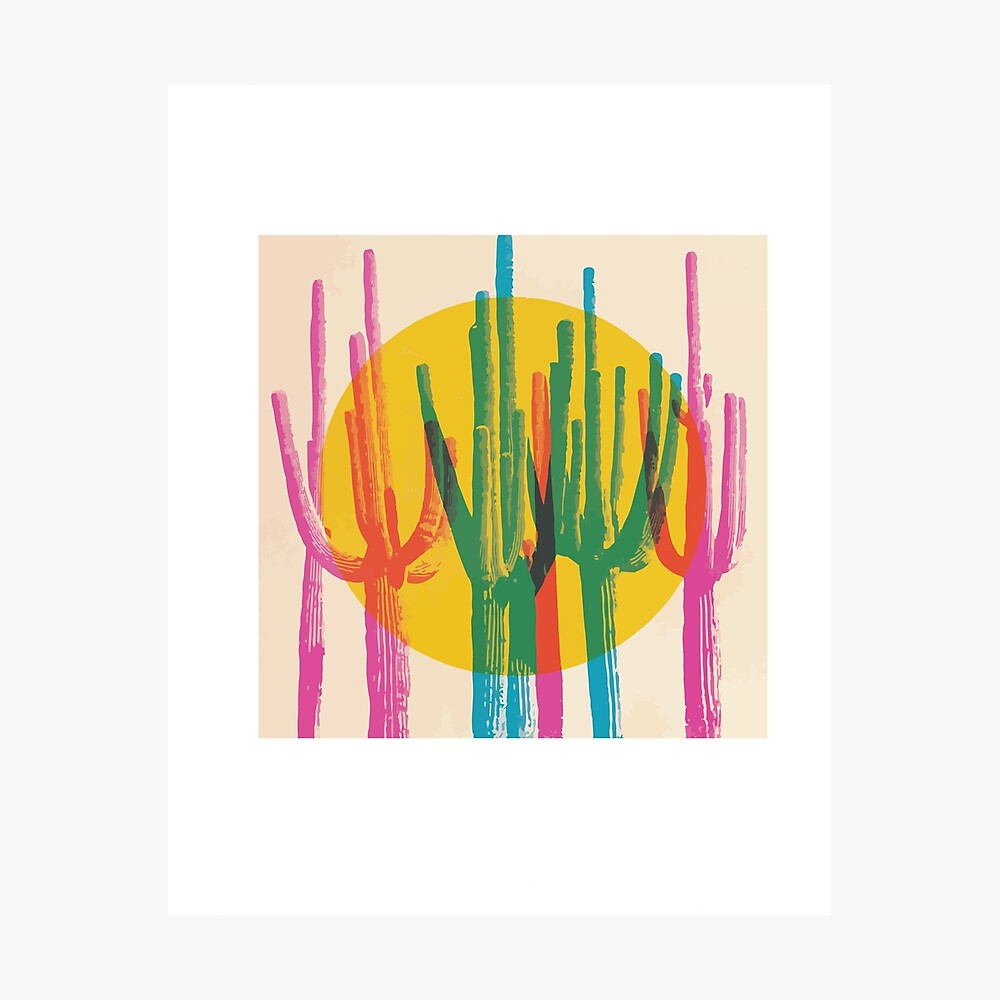 multiple exposure cactus design Photographic Print