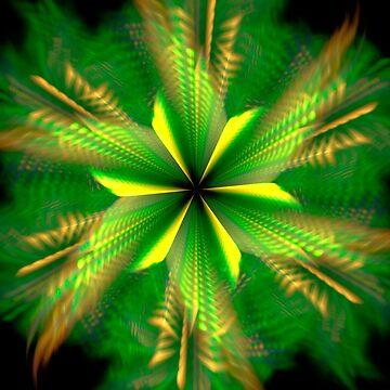 Fractal Green Star Flower by Vitta