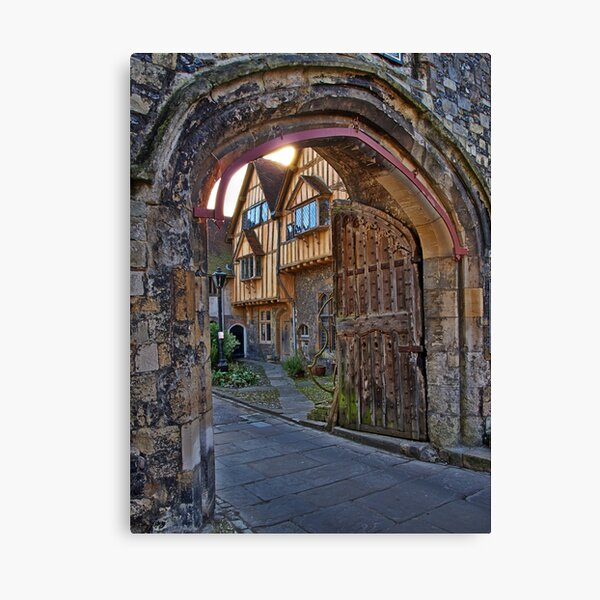 St Swithun's Gate and the Porter's Lodge - Winchester Cathedral Canvas Print
